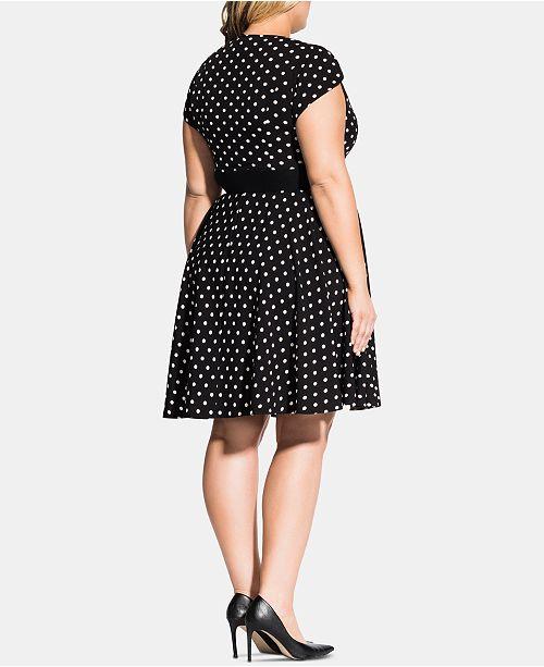 Trendy Plus Size Polka-Dot Eliza Dress
