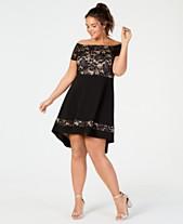 a89f854263cfc City Studios Trendy Plus Size Off-The-Shoulder Lace Dress