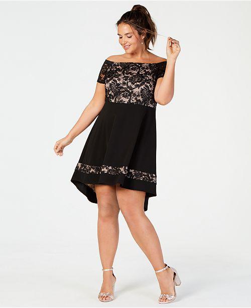 City Studios Trendy Plus Size Off-The-Shoulder Lace Dress