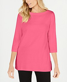 Cotton Boat-Neck 3/4-Sleeve Knit Top, Created for Macy's
