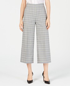 Nine West Wide-Leg Plaid Pants