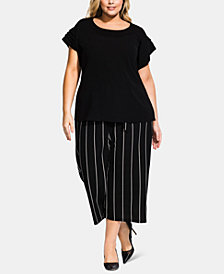 City Chic Trendy Plus Size Layered-Sleeve Top