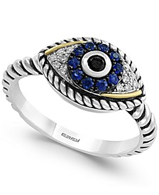Sapphire (1/5 ct. t.w.) and Diamond (1/6 ct. t.w.) Evil Eye Ring in Sterling Silver & 18k Gold