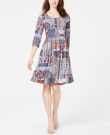 NY Collection Petite Patchwork Pleated Dress