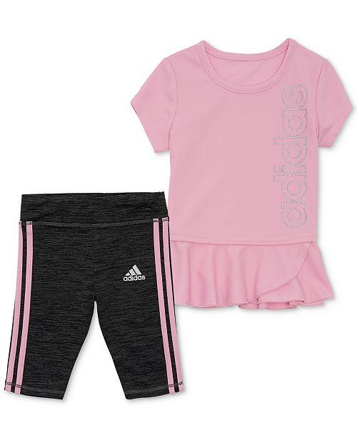 Adidas Baby Girls 2 Pc Peplum Top Capri Leggings Set Reviews Sets Outfits Kids Macy S