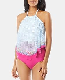 Mesh Tankini Top & High-Waist Bikini Bottoms