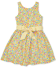 Polo Ralph Lauren Little Girls Floral-Print Fit & Flare Cotton Dress