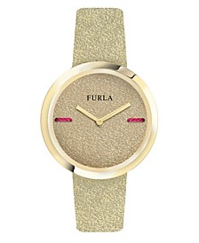 Women's My Piper Gold Dial Calfskin Leather Watch