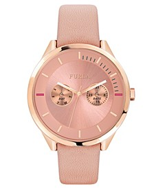 Women's Metropolis Pink Dial Calfskin Leather Watch