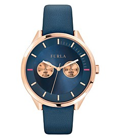 Women's Metropolis Blue Dial Calfskin Leather Watch