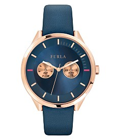Furla Women's Metropolis Blue Dial Calfskin Leather Watch