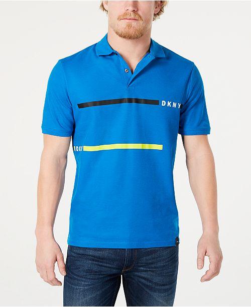 DKNY Men's Double-Stripe Logo Polo Shirt