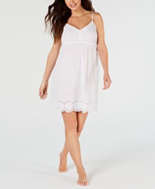 Charter Club Eyelet Lace Woven Cotton Chemise Nightgown, Created for Macy's