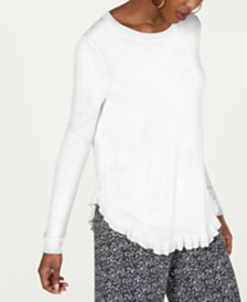 MICHAEL Michael Kors Ruffled-Hem Pointelle Sweater, Regular & Petite