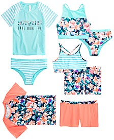Ideology Big Girls Floral + Stripes Swimwear Mix and Match Separates, Created for Macy's