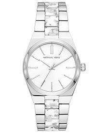 Michael Kors Women's Channing Stainless Steel & White Acetate Bracelet Watch 36mm