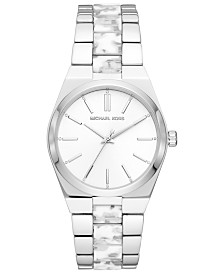 Michael Kors Women's Channing Stainless Steel & White Acetate Bracelet Watch 36mm
