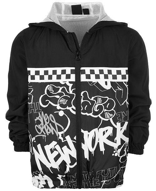 Ideology Toddler Boys Hooded Graffiti-Print Jacket, Created for Macy's