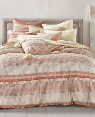 Woodblock Stripe Cotton 2-Pc. Twin/Twin XL Duvet Cover Set, Created for Macy's