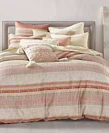 CLOSEOUT! Woodblock Stripe Cotton 3-Pc. Full/Queen Duvet Cover Set, Created for Macy's