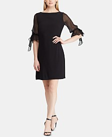 Lauren Ralph Lauren Petite Georgette-Sleeve Dress