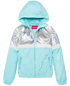 London Fog Big Girls Hooded Metallic Colorblocked Jacket