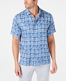 Tommy Bahama Men's Regular-Fit Tonal Geo-Print Silk Camp Shirt, Created for Macy's