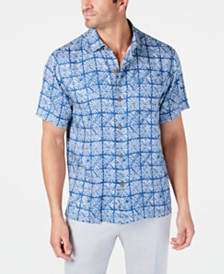 Tommy Bahama Men's Classic Fit Tonal Geo-Print Silk Camp Shirt, Created for Macy's