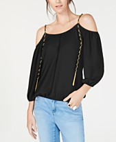 33b449f2462c51 I.N.C. Cold-Shoulder Chain-Detail Top, Created for Macy's