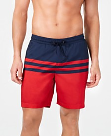 "Club Room Men's Quick-Dry Performance Colorblocked Stripe 7"" Swim Trunks, Created for Macy's"