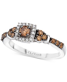 Le Vian® Chocolate & Vanilla Diamond Ring (1/2 ct. t.w.) in 14k White Gold