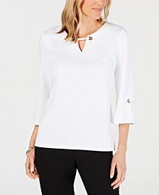Textured Grommet-Trim Keyhole Top, Created for Macy's