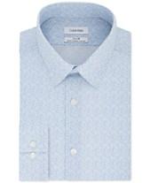 c155d7f59 Calvin Klein Men's STEEL Slim-Fit Non-Iron Performance Stretch Blue Print Dress  Shirt