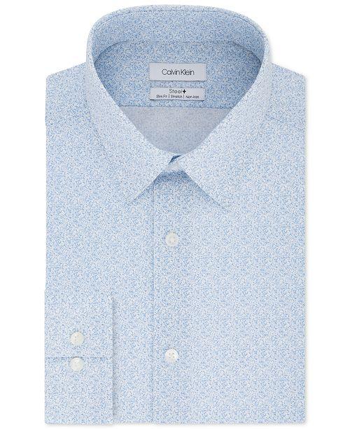 Calvin Klein Calvin Klein Men's STEEL Slim-Fit Non-Iron Performance Stretch Blue Print Dress Shirt