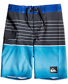 "Quiksilver Little Boys Highline Slab Stretch Colorblocked Stripe 14"" Board Shorts"