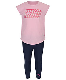 Puma Little Girls 2-Pc. Logo-Print T-Shirt & Leggings Set