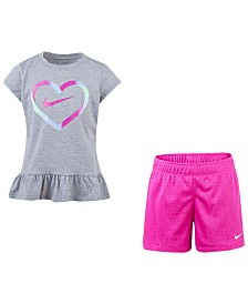 Nike Little Girls 2-Pc. Heart Graphic T-Shirt & Shorts Set