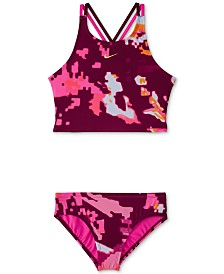 Nike Big Girls 2-Pc. Glitch Spiderback Midkini Swimsuit