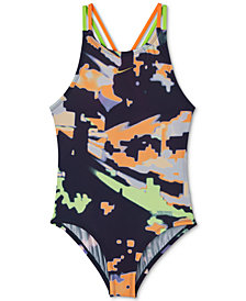 Nike Big Girls 1-Pc. Glitch Spiderback Swimsuit