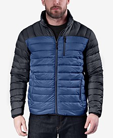 Men's Colorblocked Packable Down Blend Jacket