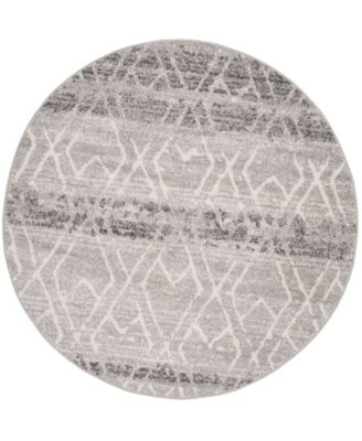 Adirondack Silver and Ivory 6' x 6' Round Area Rug