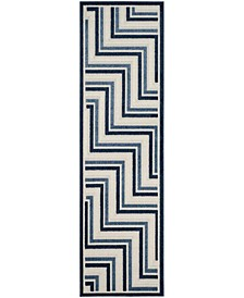 """Cottage Cream and Blue 2'3"""" x 8' Runner Area Rug"""