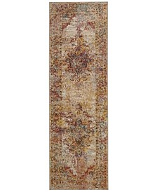 "Crystal Cream and Rose 2'2"" x 7' Runner Area Rug"