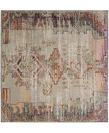 Crystal Light Gray and Purple 7' x 7' Square Area Rug