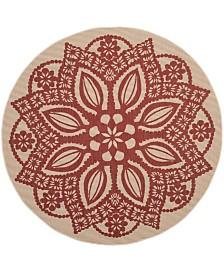 "Safavieh Courtyard Beige and Red 6'7"" x 6'7"" Sisal Weave Round Area Rug"