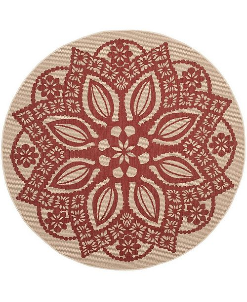 "Safavieh Courtyard Beige and Red 6'7"" x 6'7"" Sisal Weave Round Area Rug"