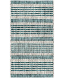 """Courtyard Gray and Blue 2' x 3'7"""" Area Rug"""