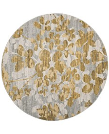 "Safavieh Evoke Gray and Gold 6'7"" x 6'7"" Round Area Rug"