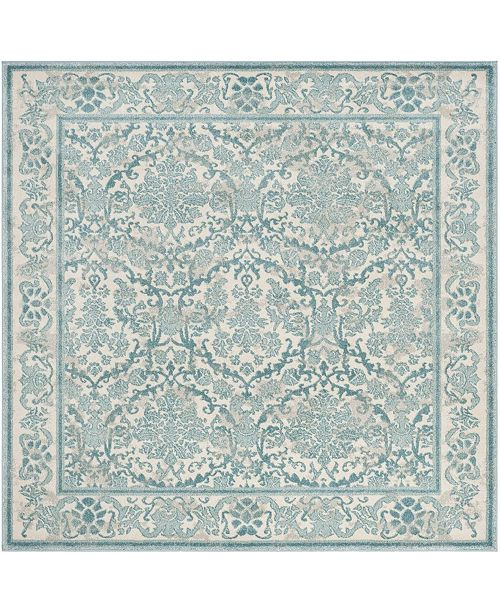 "Safavieh Evoke Ivory and Light Blue 6'7"" x 6'7"" Square Area Rug"