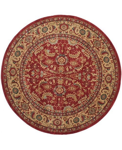 "Safavieh Mahal Red and Natural 6'7"" x 6'7"" Round Area Rug"